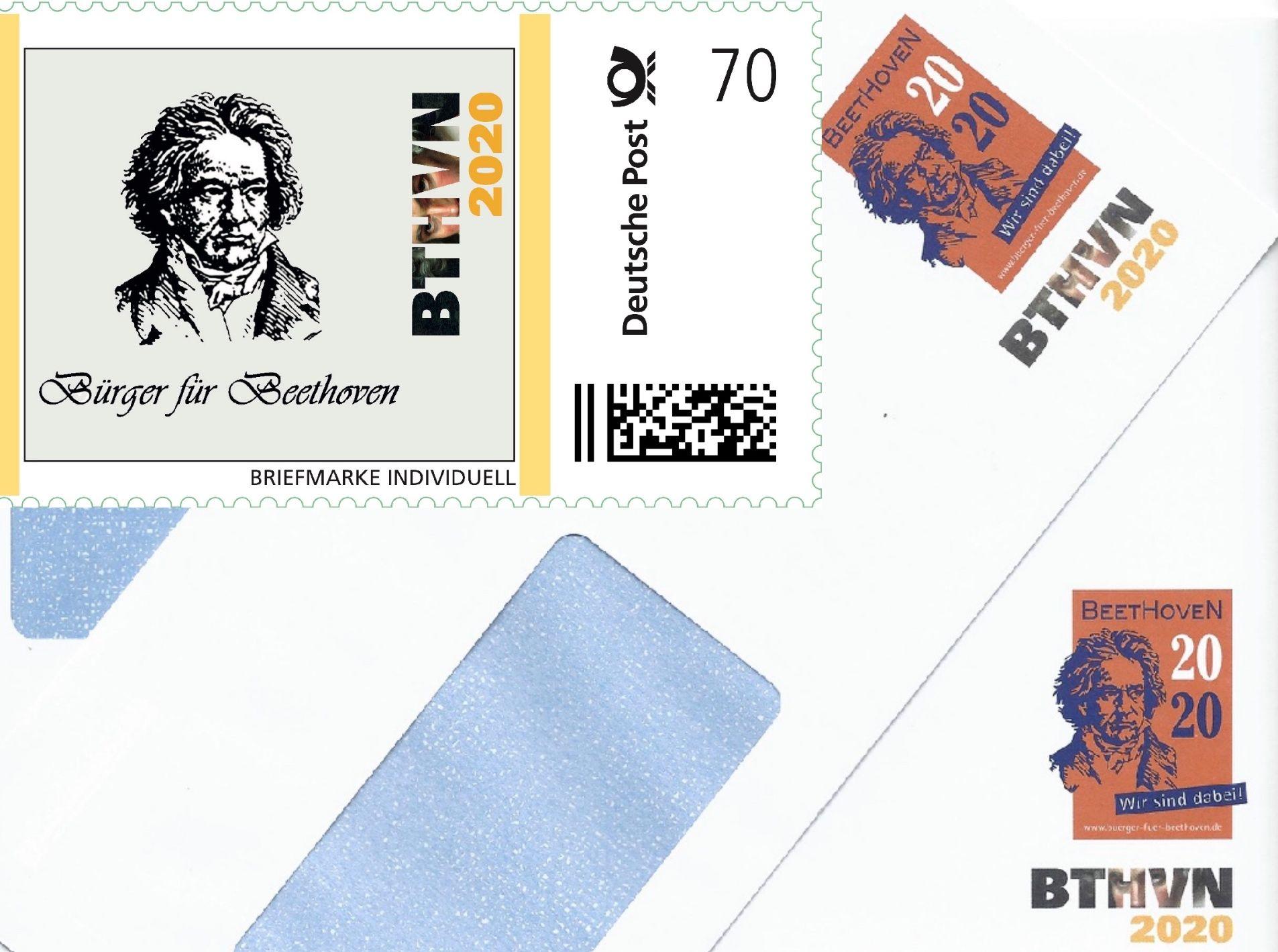 Mit Einer Eigenen Beethoven Briefmarke Und Briefumschlägen Bürger